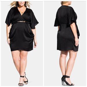 16 18 20 22 City Chic Black Tangled Wrap Dress